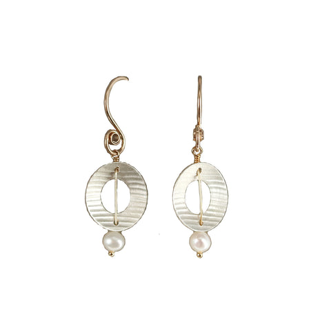 Carolyn Zakarija Sterling Silver Circle Pearl Dangle Earrings