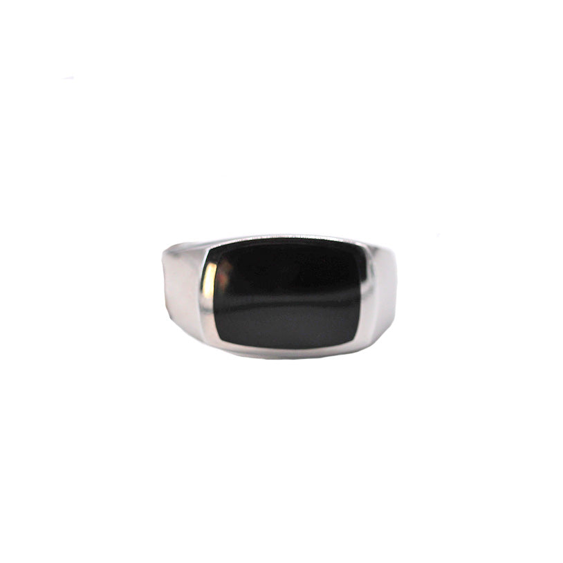 Men's Onyx Inlay White Gold Ring - Silverscape Designs