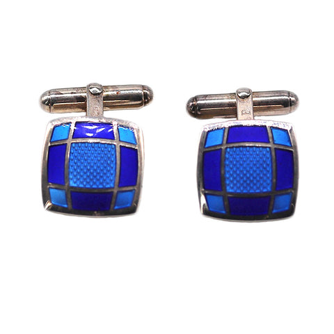 Blue Enamel Cufflinks - Silverscape Designs