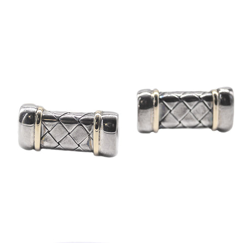 Alisa Jewelry Silver and Gold Basket Weave Cufflinks