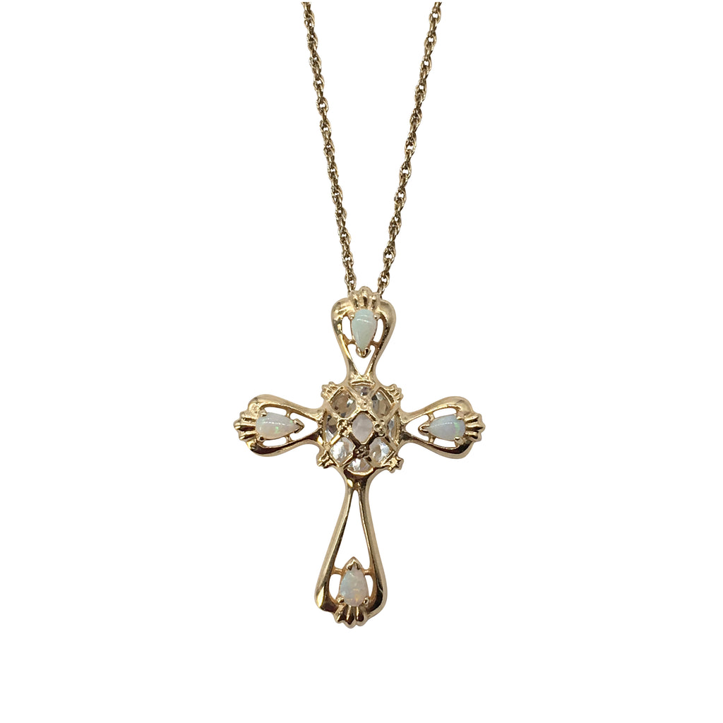 Sparkling Opal Fashion Cross in Yellow Gold - Silverscape Designs
