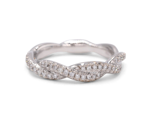 Pave Simply Twist Wedding Band - Silverscape Designs