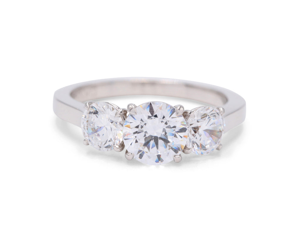 Diamond White Gold Three Stone Engagement Ring Mounting - Silverscape Designs