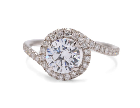 Abbraccio White Gold Diamond Halo Engagement Ring - Silverscape Designs