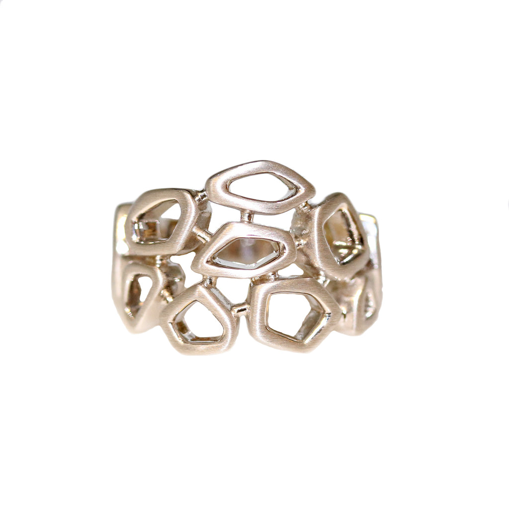 Breuning Sterling Silver Geometric Pebble Band
