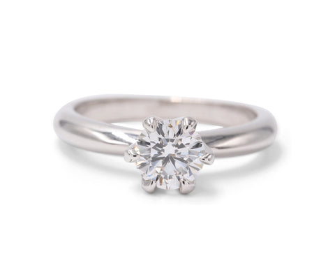 Sasha Primak .76 Carat E/VS2 Diamond 18k White Gold Solitaire Engagement Ring