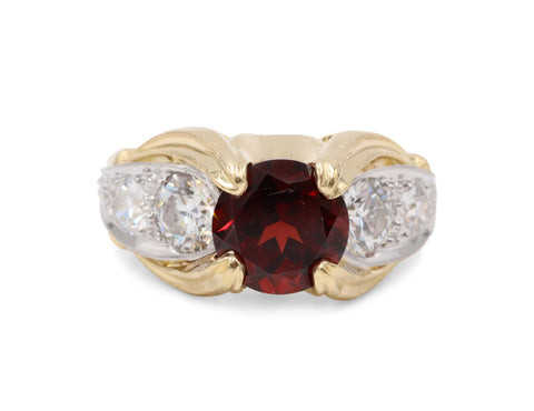 Estate Garnet & Diamond Ring