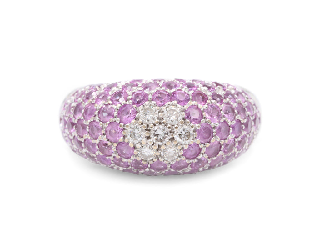 Glittering Estate Pink Sapphire & Diamond Pave Ring