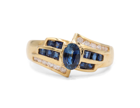 Estate Sapphire & Diamond Bypass Ring - Silverscape Designs