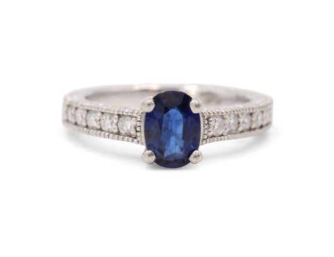 Estate Platinum Sapphire Diamond Ring