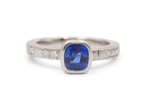 Estate Platinum 1.27 carat Blue Sapphire and .08 TCW Diamond Engagement Ring