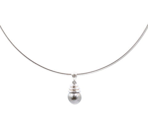 Estate 14 Karat White Gold Grey Pearl Diamond Necklace