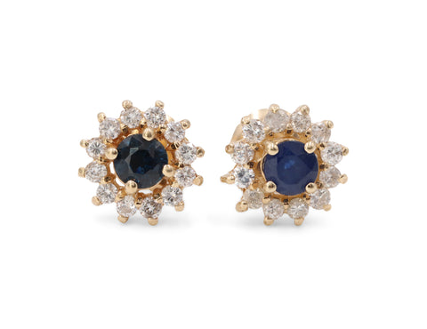 Estate Diamond & Sapphire Earrings