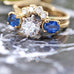 Estate Diamond and Sapphire Yellow Gold Ring with Crescent of Diamonds - Silverscape Designs