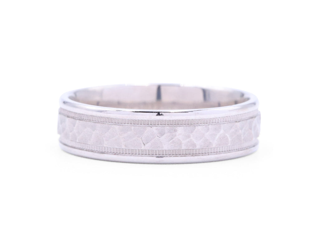 Benchmark Hammered Center Men's Band - Silverscape Designs