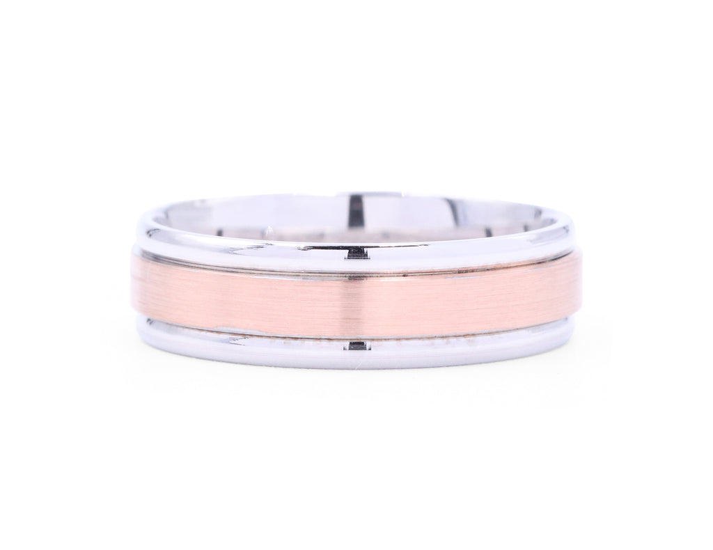 Benchmark Satin Rose Gold Men's Band - Silverscape Designs