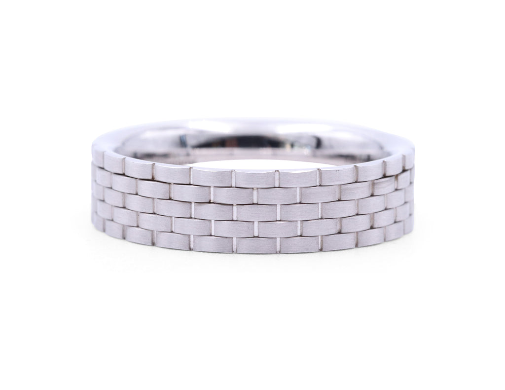 Christian Bauer White Gold Brick Band