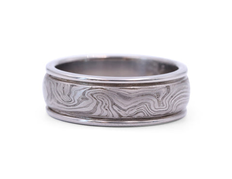 George Sawyer Mokume Organic Grey Gold Band