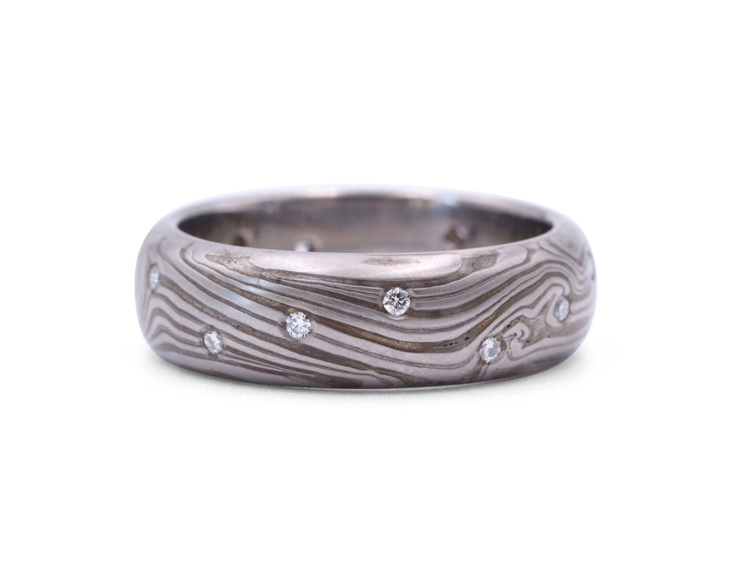 George Sawyer Mokume Scattered Diamond Band