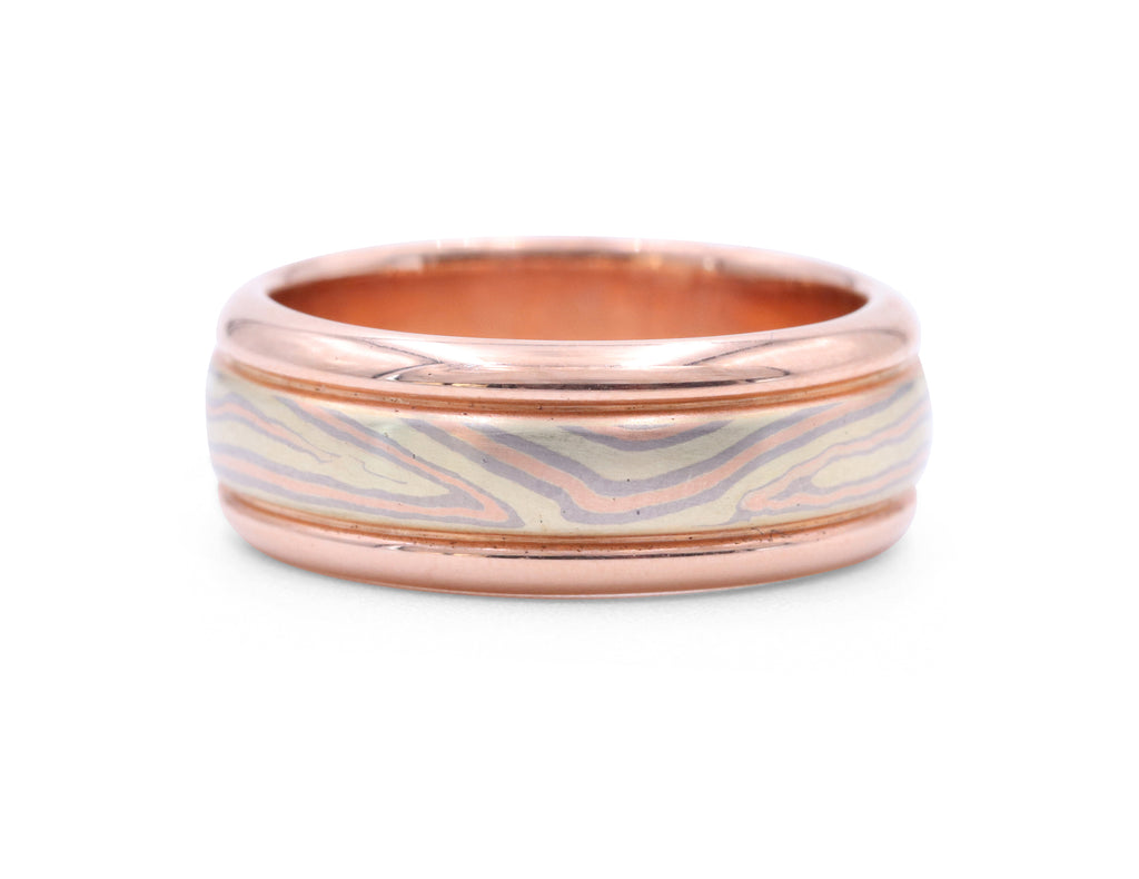 Grey Rose and Green Mokume Gold Band - Silverscape Designs