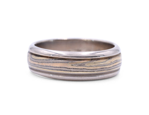 George Sawyer Silver Mokume Band