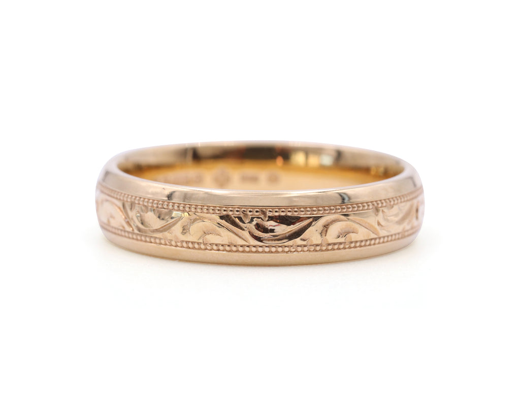 Engraved Yellow Gold 5 mm Band - Silverscape Designs