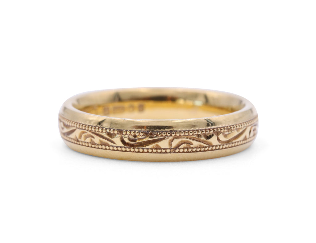 Engraved Yellow Gold 4 mm Ladies Band - Silverscape Designs