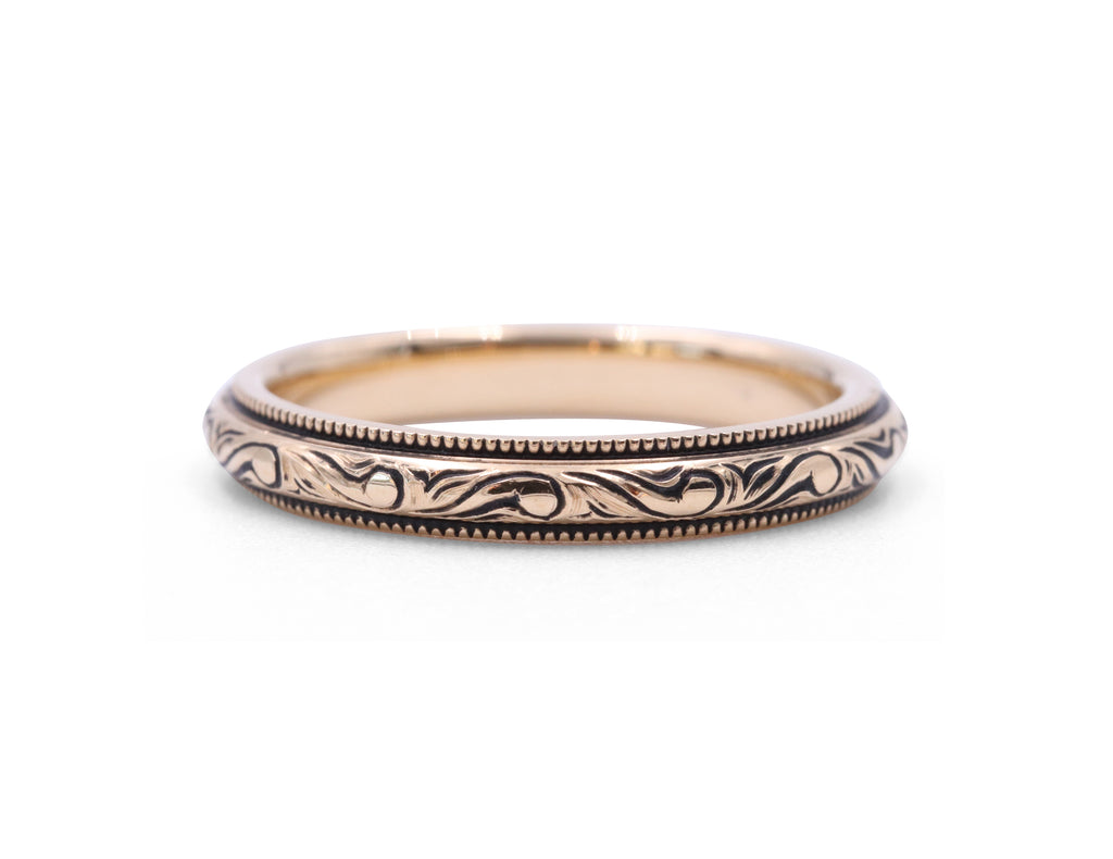 Yellow Gold Engraved Band - Silverscape Designs