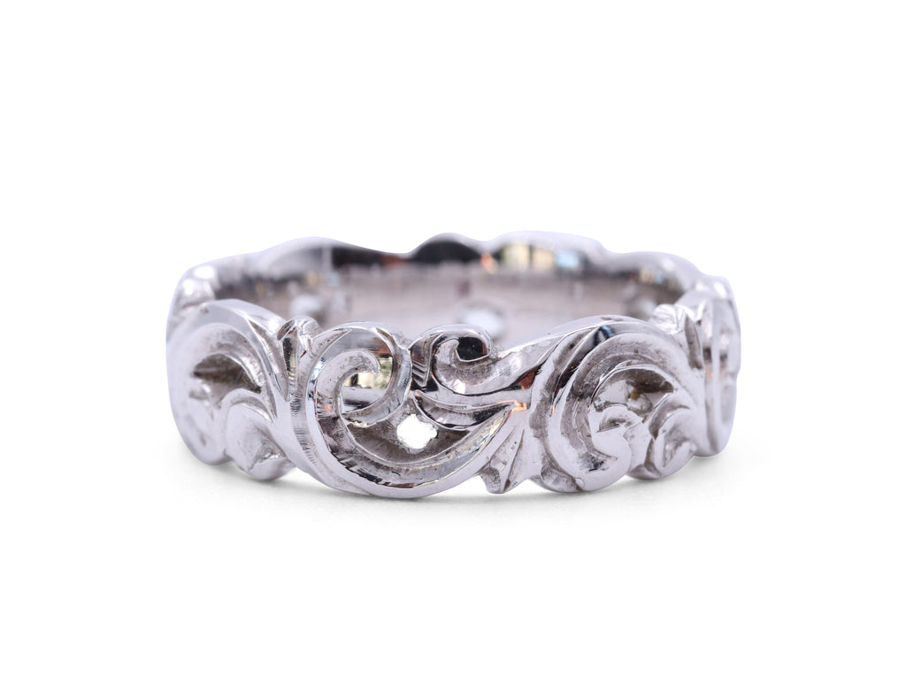 White Gold Scroll Band - Silverscape Designs