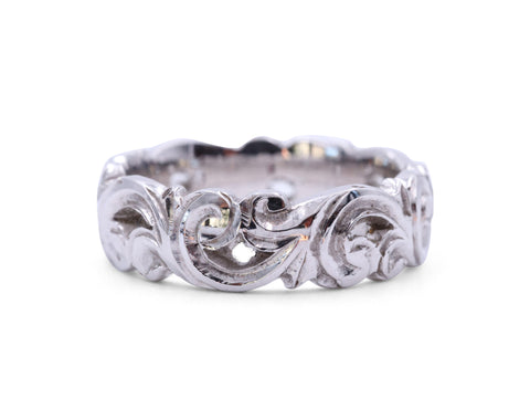 White Gold Scroll Band