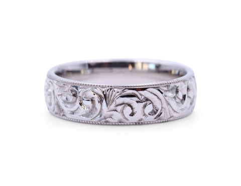 White Gold Engraved Scroll Band
