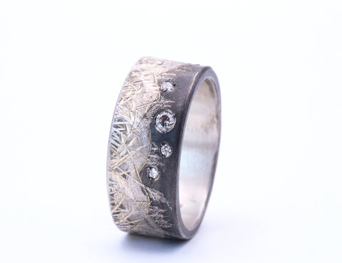 Diamond Accented Fine Oxidized Silver Mountain, Moon & Stars Ring - Silverscape Designs