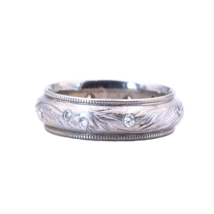 Diamond White Gold Engraved Seagrass Band - Silverscape Designs