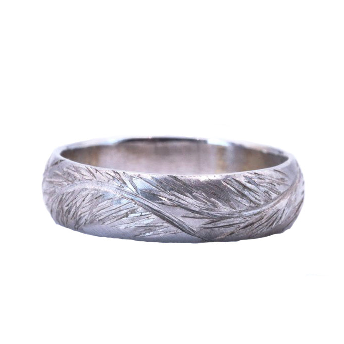 White Gold Engraved Pinebranch Band - Silverscape Designs