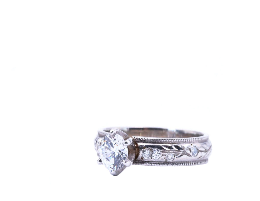 Engraved Diamond/CZ Ring