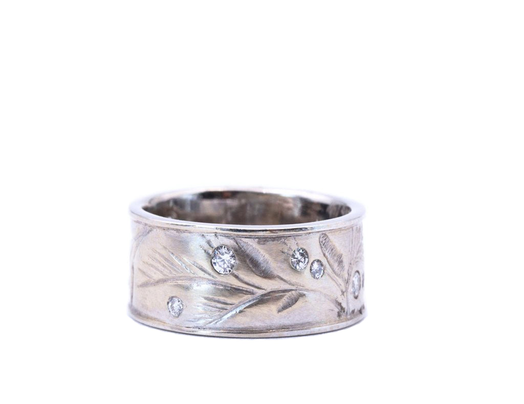 Diamond Accented Botanical Engraved White Gold Band - Silverscape Designs