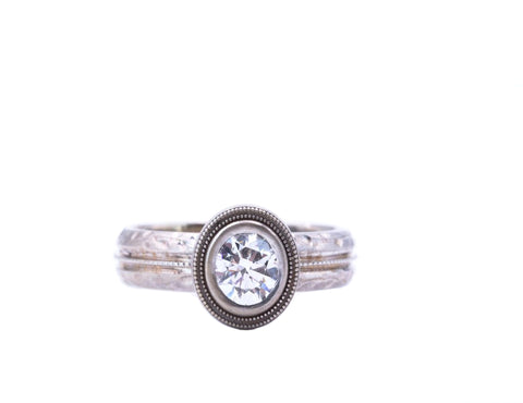 Bezel Set Diamond White Gold Engagement Ring - Silverscape Designs