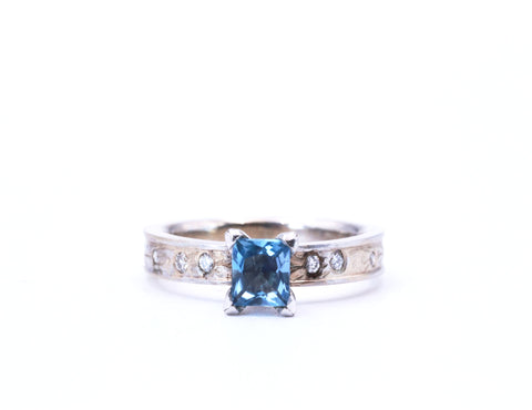 Aquamarine and Diamond White Gold Botanical Engraved Ring - Silverscape Designs