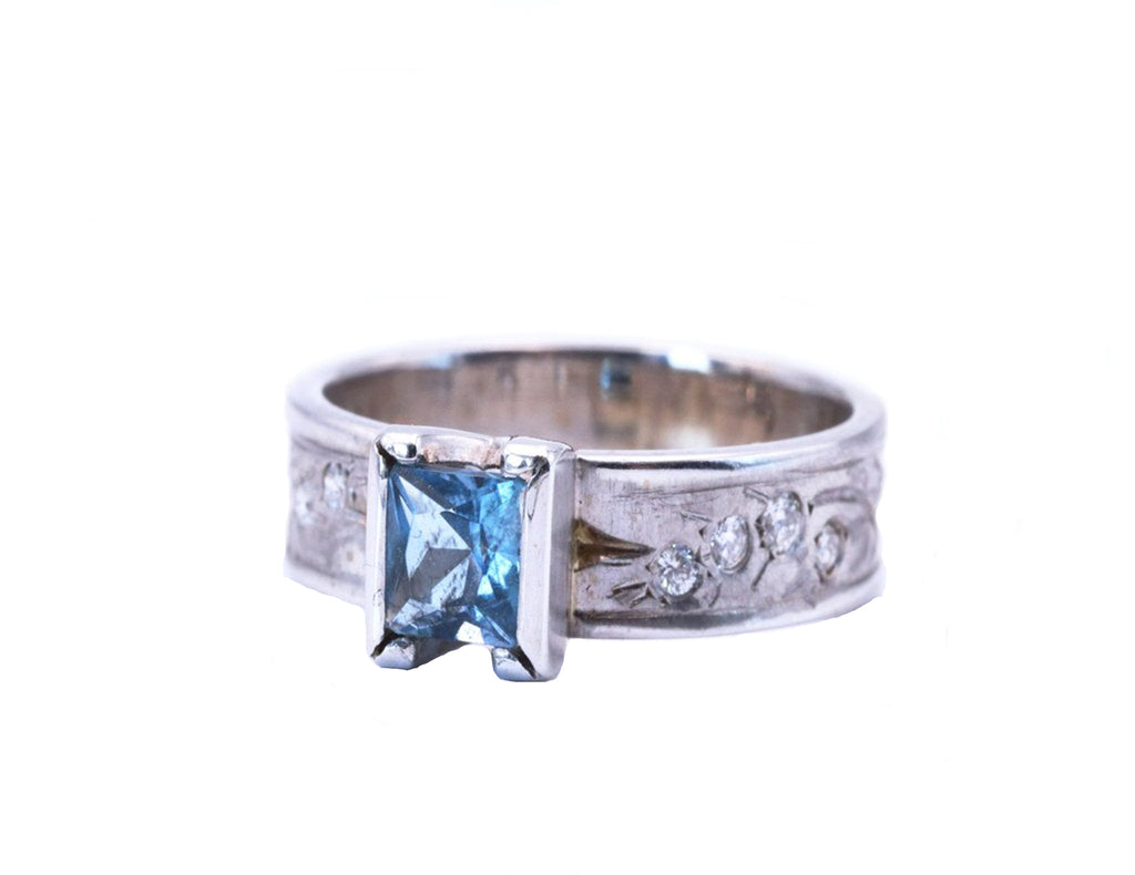 Princess Cut Aquamarine White Gold Engraved Ring - Silverscape Designs