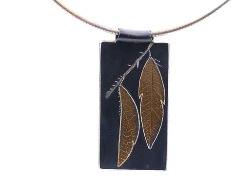 Constance Wickluncd Gildea Fine Silver and 22/24k Gold Double Leaf Pendant on Chain