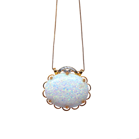 Opal and Diamond Yellow Gold Necklace - Silverscape Designs