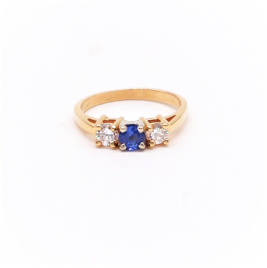 Estate Sapphire and Diamond Engagement Ring - Silverscape Designs