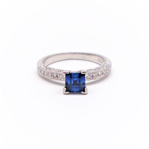 Princess Cut Sapphire and Diamond Platinum Engagement Ring