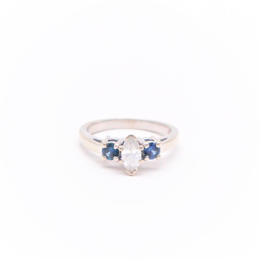 Estate Marquis Diamond and Sapphire Ring