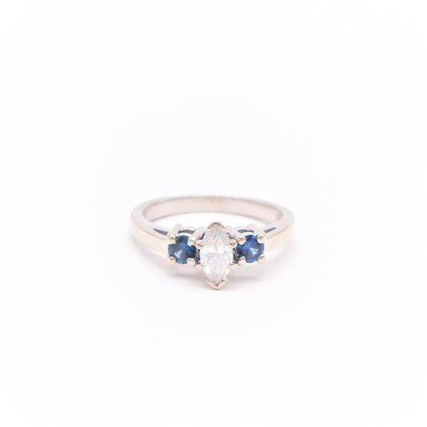 Estate Marquis Diamond and Sapphire Ring - Silverscape Designs