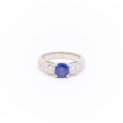 Estate Sapphire and Diamond Platinum Engagement Ring