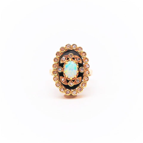 Opal Enamel and Diamond Yellow Gold Cocktail Ring