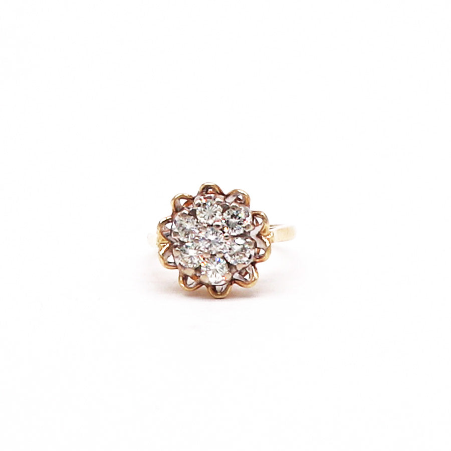 Estate Diamond and Yellow Gold Floral Shape Ring