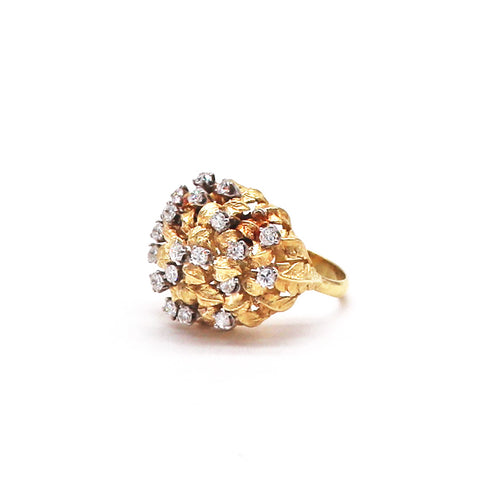 Estate Diamond and Yellow Gold Flower Ring - Silverscape Designs