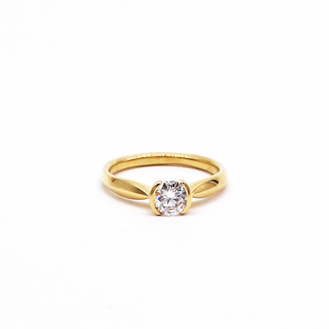 Estate Half Bezel Diamond Engagement Ring